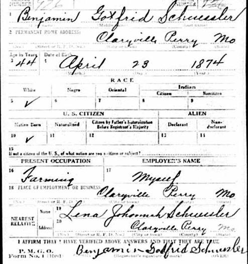 Benjamin Schuessler WWI registration