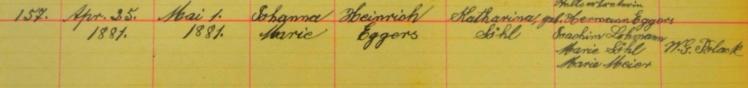 Johanna Eggers baptismal record Salem, Farrar