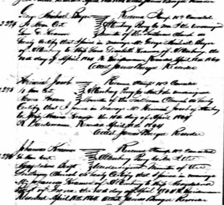 Triple Wedding April 14 1864