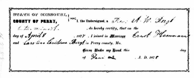 Bergt-Hemmann Missouri marriage record