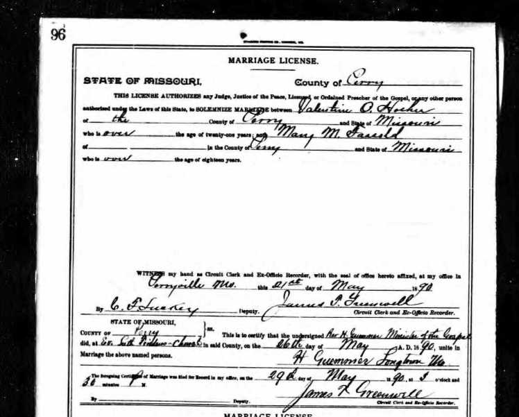 Fassold-Hoehn marriage license