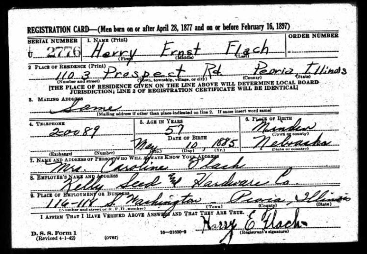 Harry Flach WWII registration