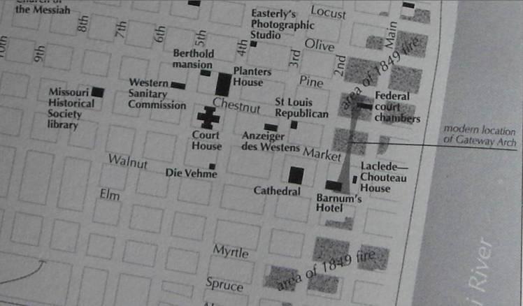 St. Louis 1849 fire map