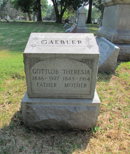 Gottlob and Theresia Gaebler tombstone