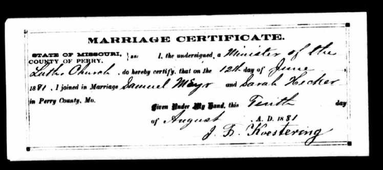 Meyr-Haecker marriage record