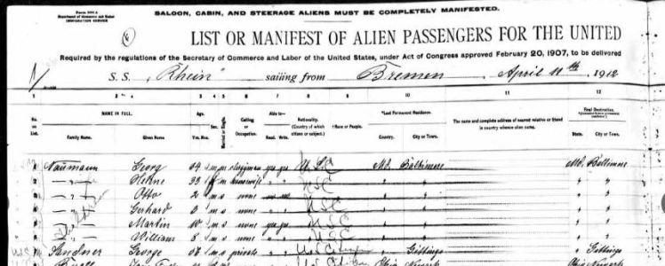 Naumann Passenger List 1912