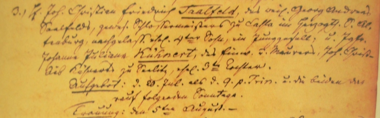 Saalfeld Kuehnert marriage record