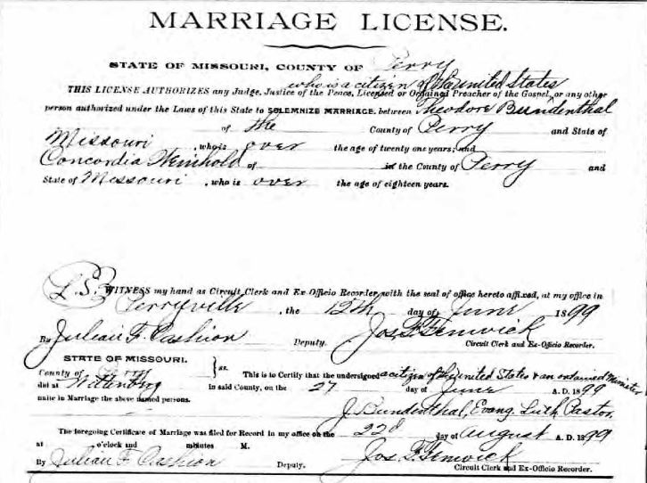 Bundenthal Weinhold marriage record