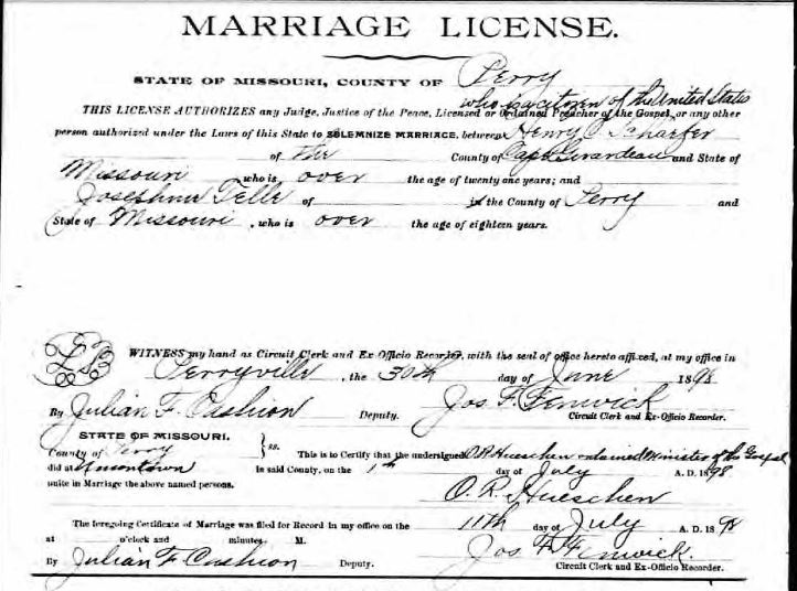Telle Schaeffer marriage license