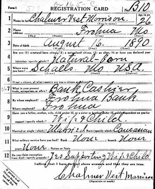 Chalmer Morrison WWI draft