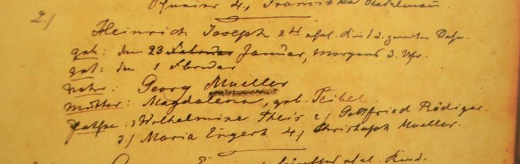 Heinrich Joseph Mueller baptism record