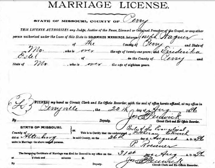 Wagner Estel marriage record