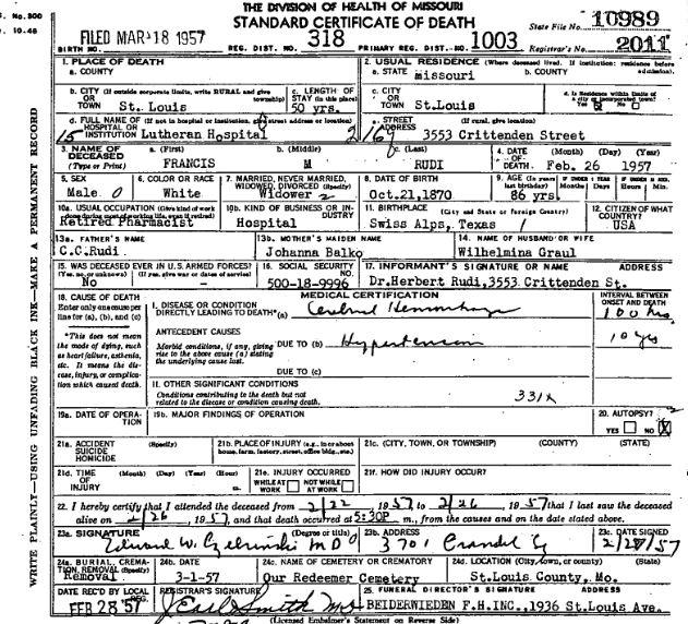 Francis Rudi death certificate