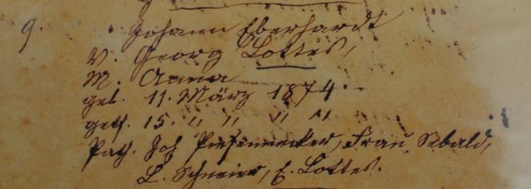 Johann Eberhardt Lottes baptism record