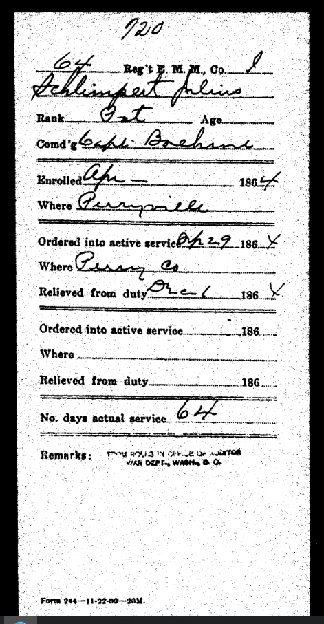 Julius Schlimpert military service record