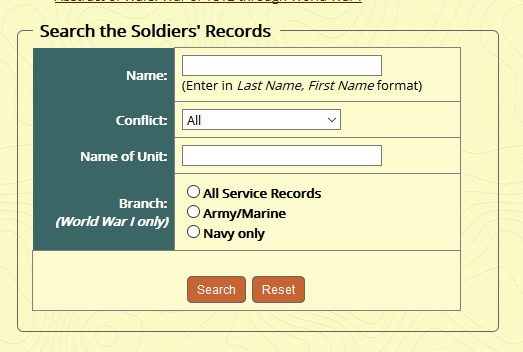 MO Sos Soldier's Records search form