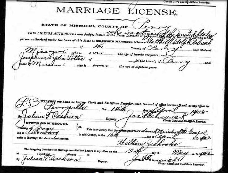 Palisch Lottes marriage license