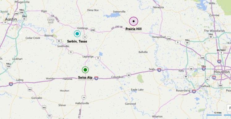 Prairie Hill Texas map