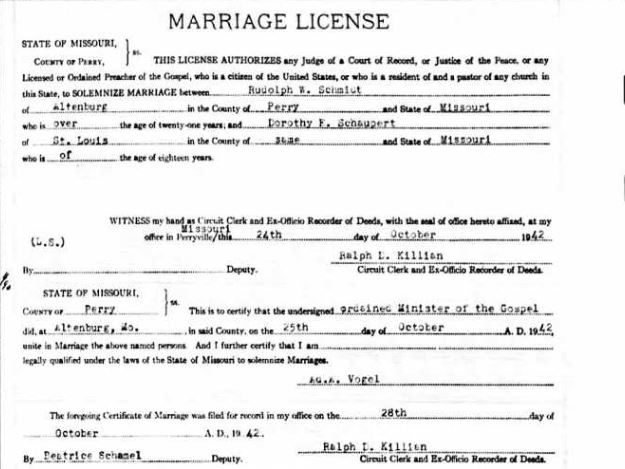 Schmidt Schaupert marriage license