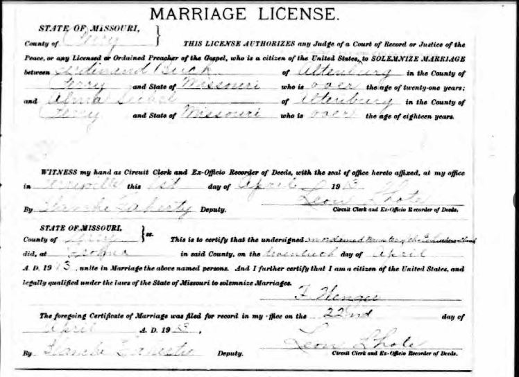 Buck Seibel marriage license