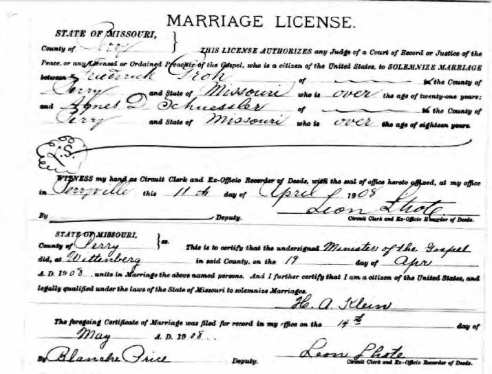 Groh Schuessler marriage license