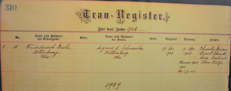 Groh Schuessler marriage record