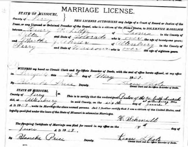 Littge Ahner marriage license