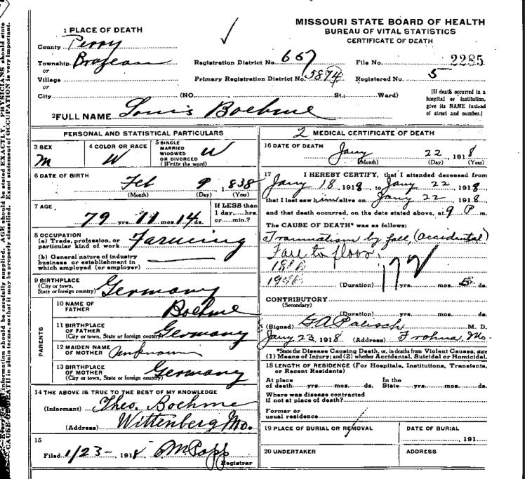 Ludwig Boehme death certificate