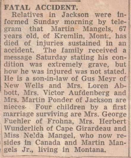 Martin Mangels newspaper story