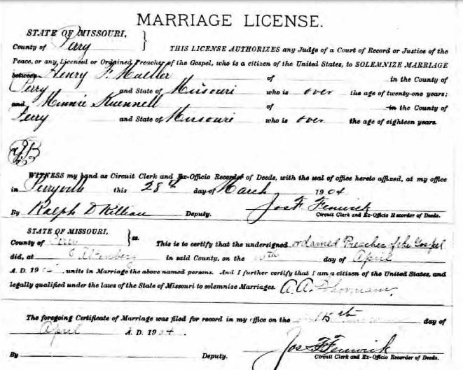 Mueller Kuennell marriage license