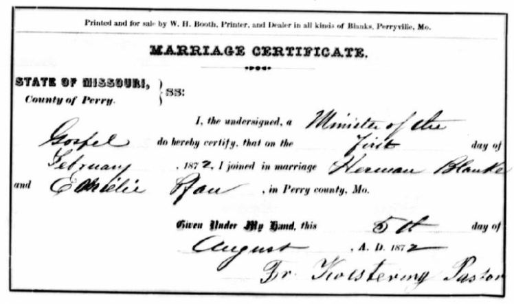Pfau Blanke marriage record