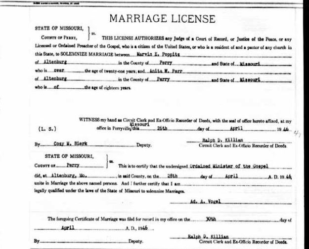 Poppitz Perr marriage license