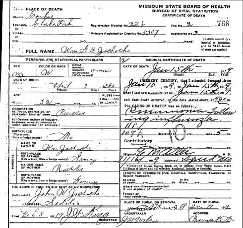 Wilhelm Zschoche death certificate