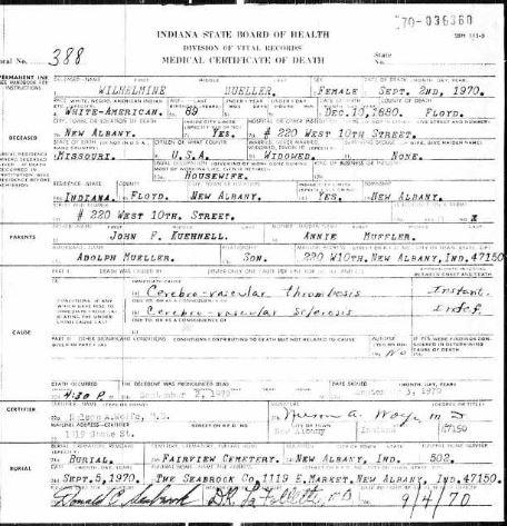 Wilhelmina Mueller death certificate
