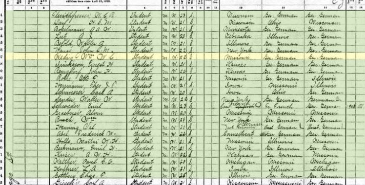 William Wedig seminary student 1910 census