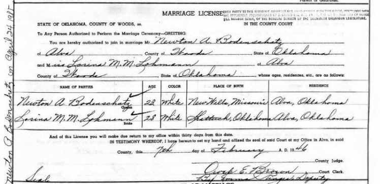 Bodenschatz Lohmann marriage license Alva OK