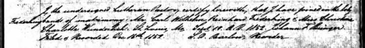 C W R Frederking Wunderlich marriage record 1852 St. Louis