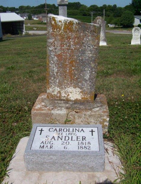 Caroline Sandler gravestone Immanuel Perryville