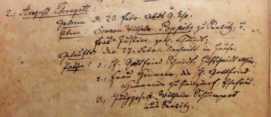 Ehregott Poppitz baptism record