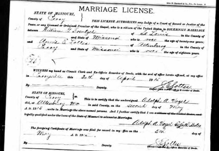 Frenzel Lottes marriage license