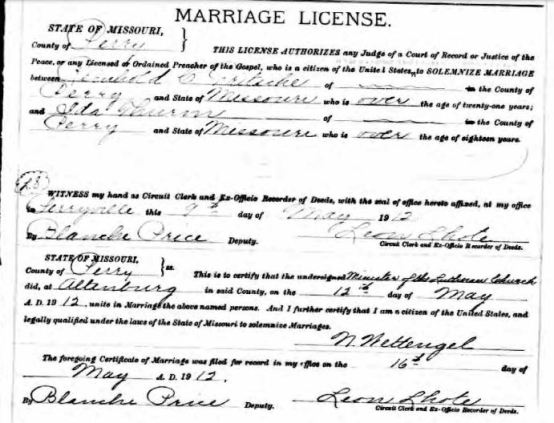 Fritsche Thurm marriage license