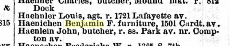 Haenichen 1878 city directory