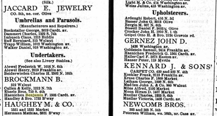 Haenichen 1882 city directory