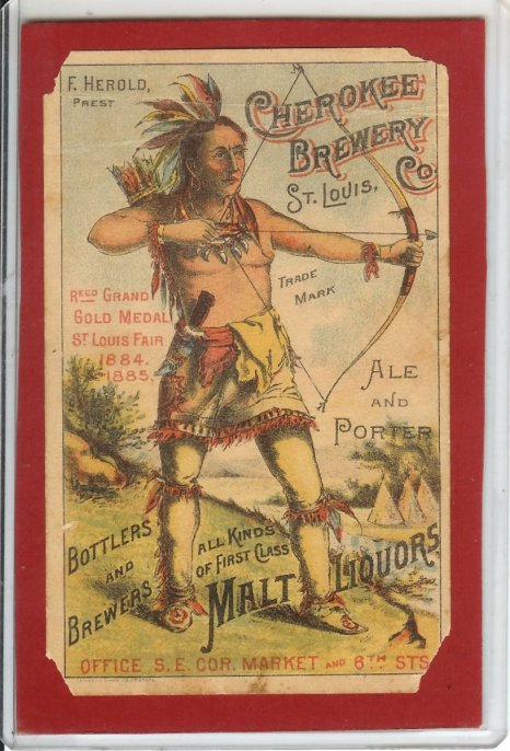 CHEROKEE BREWERY TRADE CARD 1885 (SMART INDIAN)