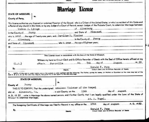 Littge Fischer marriage license