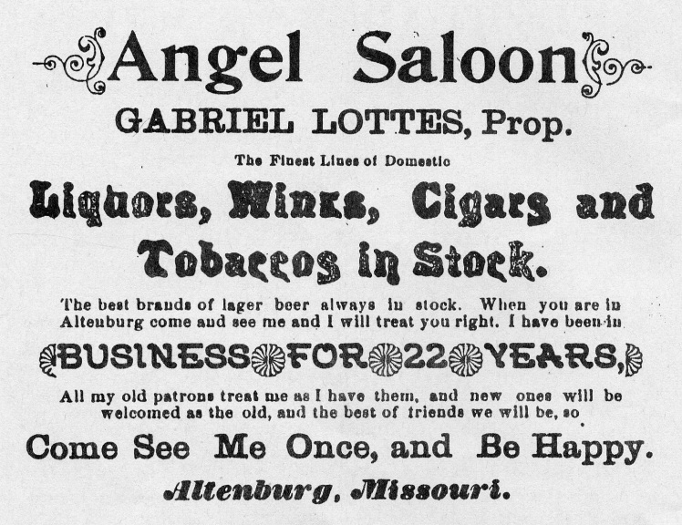 Lottes Saloon Ad