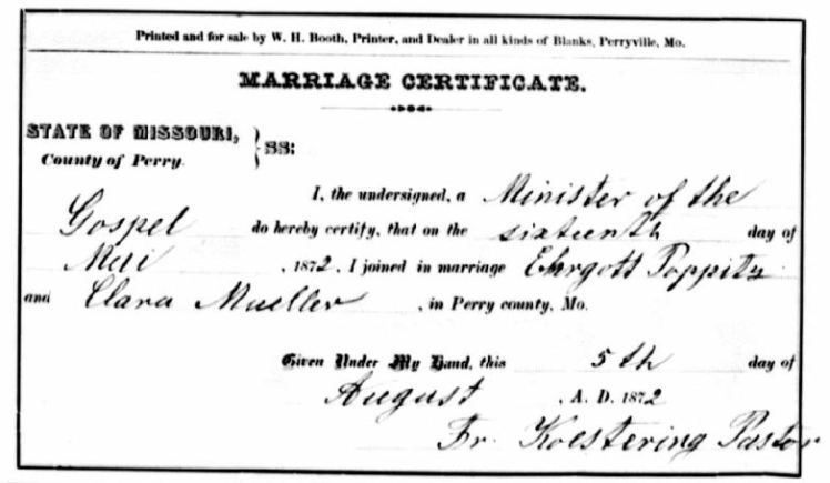 Poppitz Mueller marriage certificate