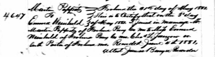 Poppitz Weinhold marriage record