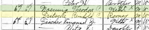 Reinhold Fritsche 1910 census