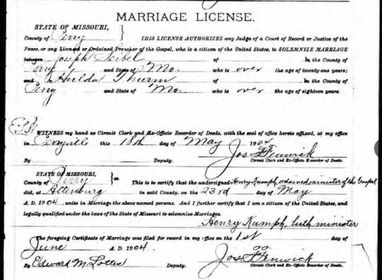 Seibel Thurm marriage license